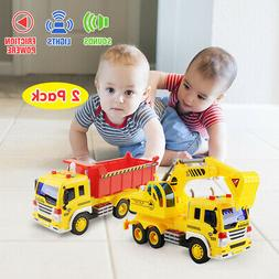 2Packs Dumping Truck Excavator Construction Diecast Toy Demo