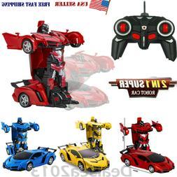 1:18 Transformer RC Robot Car Remote Control 2 IN 1 Kids Boy