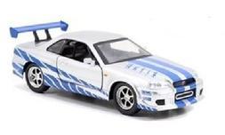 Jada New 1:32 W/B Fast & Furious 7 - SILVER BRIAN'S NISSAN S