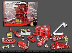 Fire Rescue Play Set Vehicle Playset Diecast Metal Modal Kid