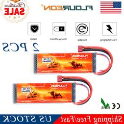 2 Pcs 3300mAh 7.4V 2S 35C Lipo RC Battery Packs T Plug RC Ca