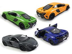 HCK Set of 4 2017 McLaren 675LT Pull Back Toy Cars 1:36 Scal