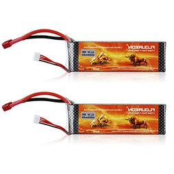 FLOUREON 2Packs 3S 11.1V 4500mAh 30C LiPo Battery Pack with