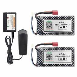 Hosim 2Pcs 7.4V 25C 1600mAh Li-Po Battery Pack+Balance Charg