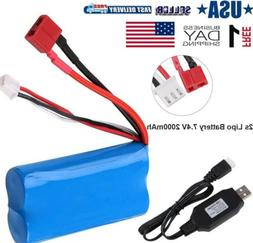 2s Lipo Battery 7.4V 2000mAh 20C T Plug Connector with USB C