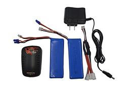 Blomiky 7.4V 2700mAh 30C Lipo Battery and Seat Charger Repla