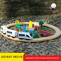 30pc Hand Crafted Wooden Train Set Triple Loop Railway Track