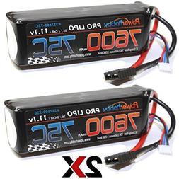 PowerHobby 3S 11.1V 7600mAh 75C Lipo Battery 2 Pack w Traxxa