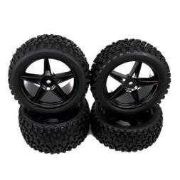 4pc 12mm Front Rear Hub Wheel Rim Tire RC 1/10 Off-Road Car