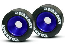 Traxxas 5186A Blue Aluminum Wheelie Bar Wheels & Rubber Tire
