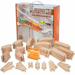 56 Piece Wooden Train Track Expansion Pack with Tunnel Compa
