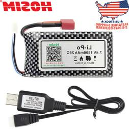 Hosim 7.4V 1600mAh 25C Rechargeable Li-Po Battery Pack+USB F