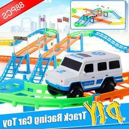 88Pcs Electric Car Rail Toy Kid DIY Track Building Racing Ro