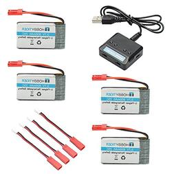 HOBBYTIGER 3.7V 800mAh Lipo Battery + 4 in 1 Batteries Charg
