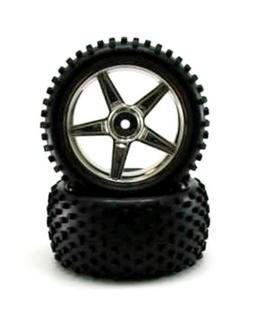 Redcat Racing 06026c Chrome Rear Wheels and Tires Wheels and