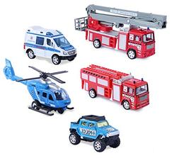 Liberty Imports Set of 5 Rescue Diecast Police Firetruck Pul