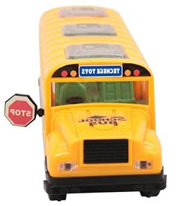 Techege Bright Yellow Toy School Bus, emits Beautiful 3D Fla