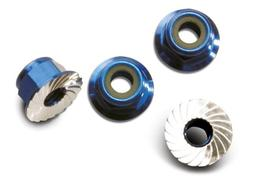 Traxxas 1747R Blue-Anodized Aluminum 4mm Flanged, Serrated L