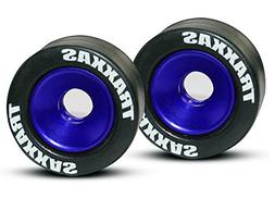 Traxxas 5186A Rubber Tires Mounted on Blue-Anodized Aluminum