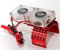Powerhobby Aluminum Motor Heatsink Twin Dual Cooling Fan Tra