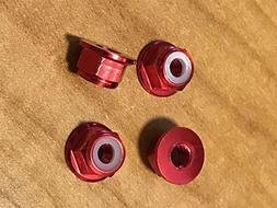 New 4MM Aluminum Red Locknuts Traxxas Slash Rustler Stampede