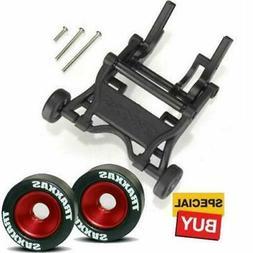 Traxxas Black Wheelie Bar/RED Alum Wheels & Rubber Tires: St