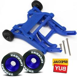 Traxxas Blue Wheelie Bar  / Blue Alum Wheels & Rubber Tires