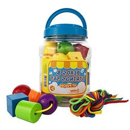 Boley Small Bucket of String and Beads - 47 piece beads and