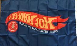HOT WHEELS Car Racing Flag Banner 3x5 Man Cave Kids Playroom