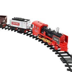 Blueseao Kids Classic Electric Railway Train Car Track Set f