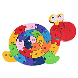 DD Wooden Blocks Jigsaw Puzzles Winding Snail Toys Letter &