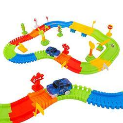 Zooawa DIY Race Car Track Train Toys,  Electric Car Tracks R