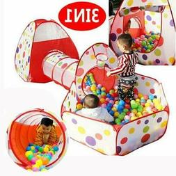 3 IN 1 Kids Toddlers Tunnel Pop Up Play Tent Cubby Playhouse