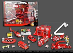 Fire Rescue Play Set Vehicle Playset Diecast Metal Modal Pla