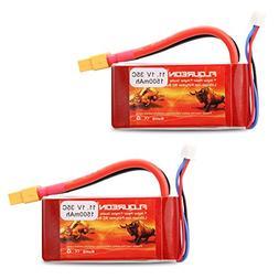 Floureon 2 Packs 3S 11.1V 1500mAh 35C RC Lipo Battery with X