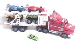 "Friction Powered Truck Car Carrier With Four Cars + ""Free Bo"