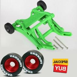 Traxxas Green Wheelie Bar/Red Alum Wheels & Rubber Tires: St