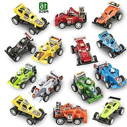 Prextex 16 pack Kids Racing Car Pull Back and Go Vehicles Gr