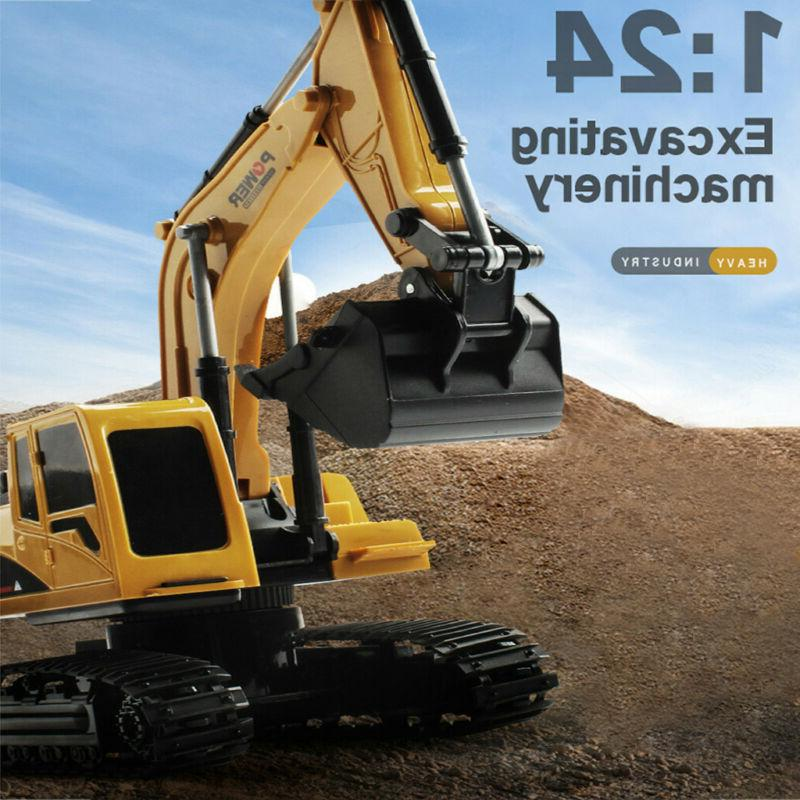 1:24 6CH 4WD Track Excavator Construction Vehicle Alloy Part