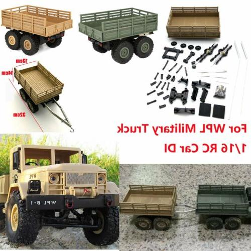 For WPL Military Truck 1/16 RC Car DIY Trailer Kit Vehicle M