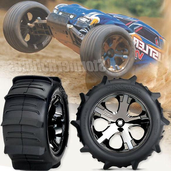 2 Traxxas Rustler Sand Paddle Tires & Wheels Assembled and r