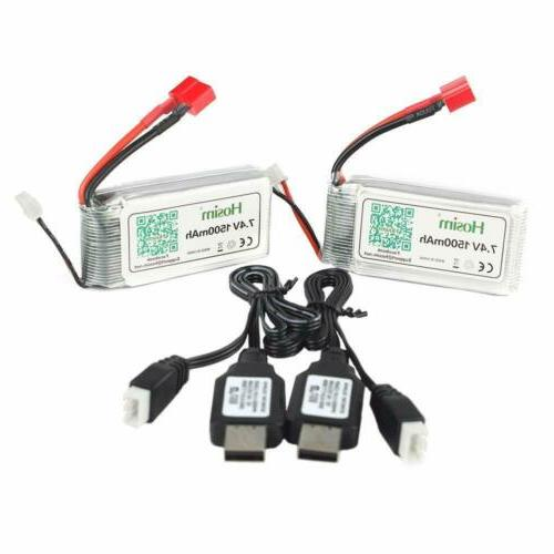 Hosim 2Pcs 7.4V 2S 1500mAh 15C Li-Po Battery Pack +2Pcs USB