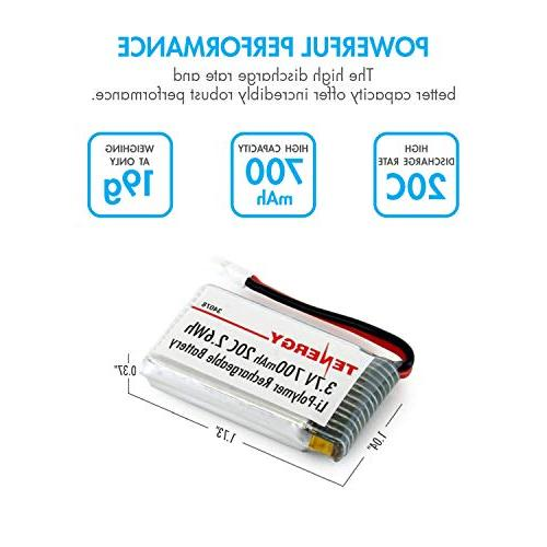 X5SC X5 Tenergy 3.7V 700mAh 20C LiPo Battery 6-Pack and T453 6-Port 3.7V LiPo RC Battery Charger for Syma X5C X5SW /& Cheerson CX-30W RC Quadcopter Drone