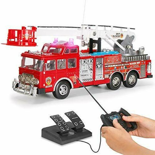 Fire Truck Toys For Toddlers Ladder Remote Control Engine RC