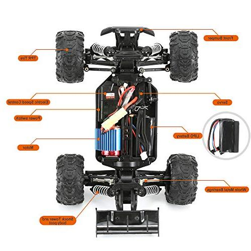 FunTech Car, Electric Control Car Monster Truck, Off-Road Radio 4WD High Speed Car