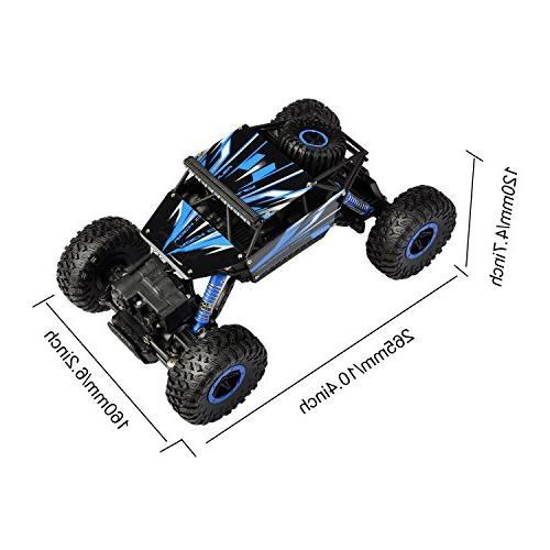 Hapinic RC Car with Two Battery 1/18 Crawlers Vehicle Toy Car Blue
