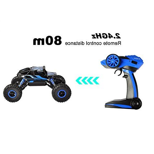 Hapinic RC Two Battery 1/18 Crawlers Off Vehicle Remote Car Blue