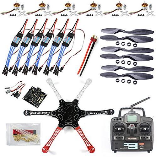 QWinOut F550 RC Hexacopter Drone ARF Upgrade Kit: KK V2 3 Circuit Board+  Hexa-rotor Air Frame+ Brushless Outrunner Motor+ 30A Brushless ESC + Carbon