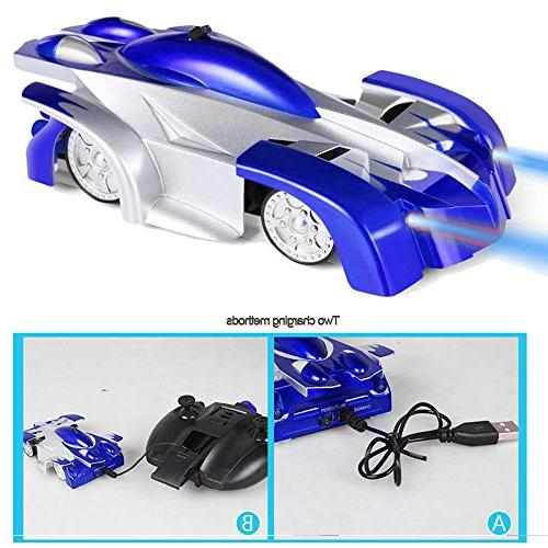 Remote Car Drive On Wall-Kids Cars Stunt Cars Vehicles Toys, LED Head Rechargeable Gravity Defying for Kid Boy