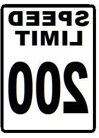 200 MPH Speed Limit Novelty Sign